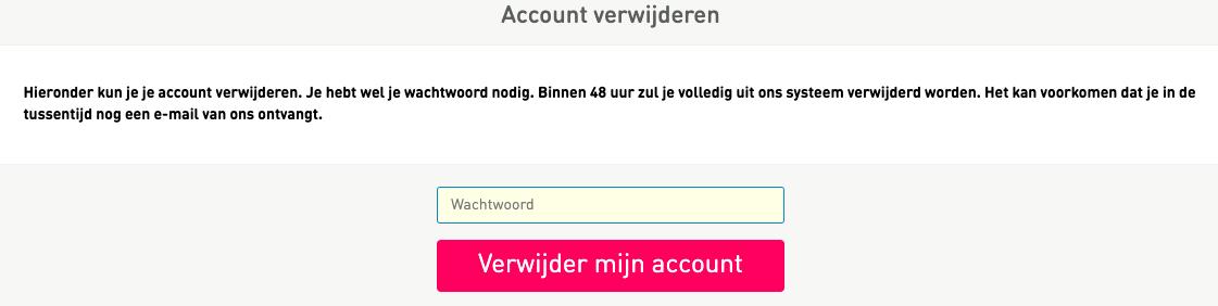 Profiel verwijderen Pepper.nl